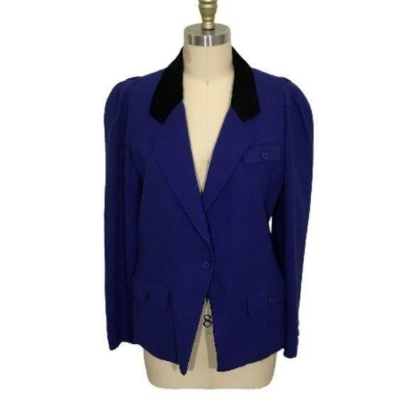 Authentic Vintage Christian Dior Blue Wool Blazer